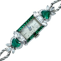 Raymond C. Yard platinum diamond Emerald wristwatch