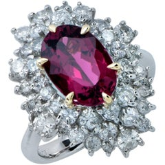 2.96 Carat Rubellite Tourmaline and Diamond Ring
