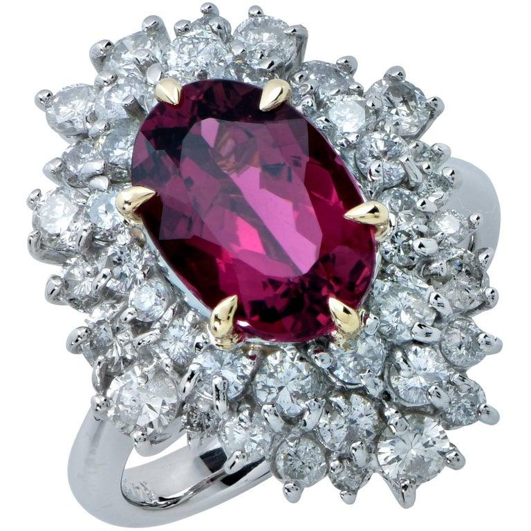 2.96 Carat Rubellite Tourmaline and Diamond Ring