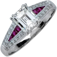 GIA Graded 1.03 Carat Emerald Cut Diamond and Ruby Engagement Ring
