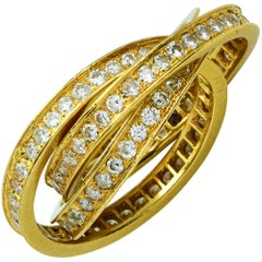 18 Karat Yellow Gold 1.15 Carat Diamond Triple Bands