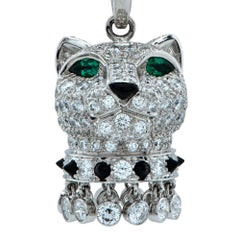 Panthère de Cartier Diamond, Emerald and Onyx 18k Gold Panther Head Necklace