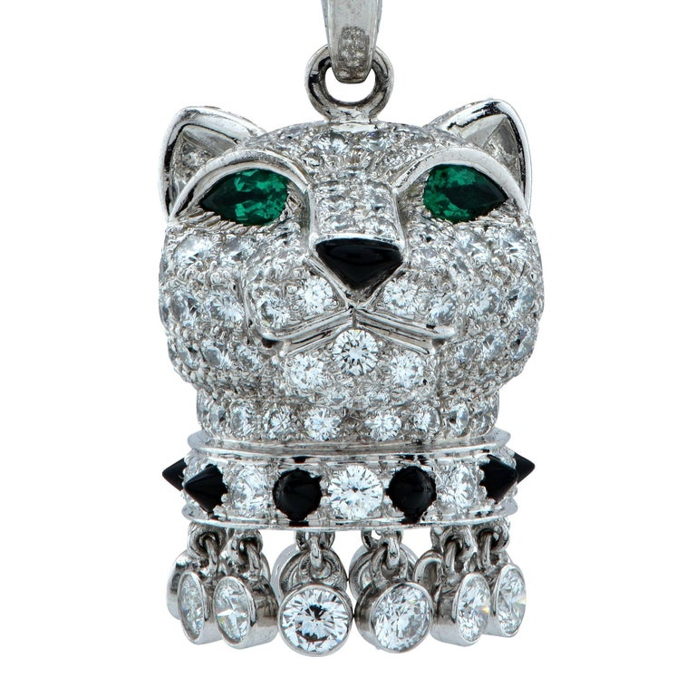Panthère de Cartier Diamond, Emerald and Onyx 18k Gold Panther Head Necklace For Sale