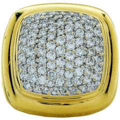 David Yurman Pave Diamond 18 Karat Yellow Gold Ring