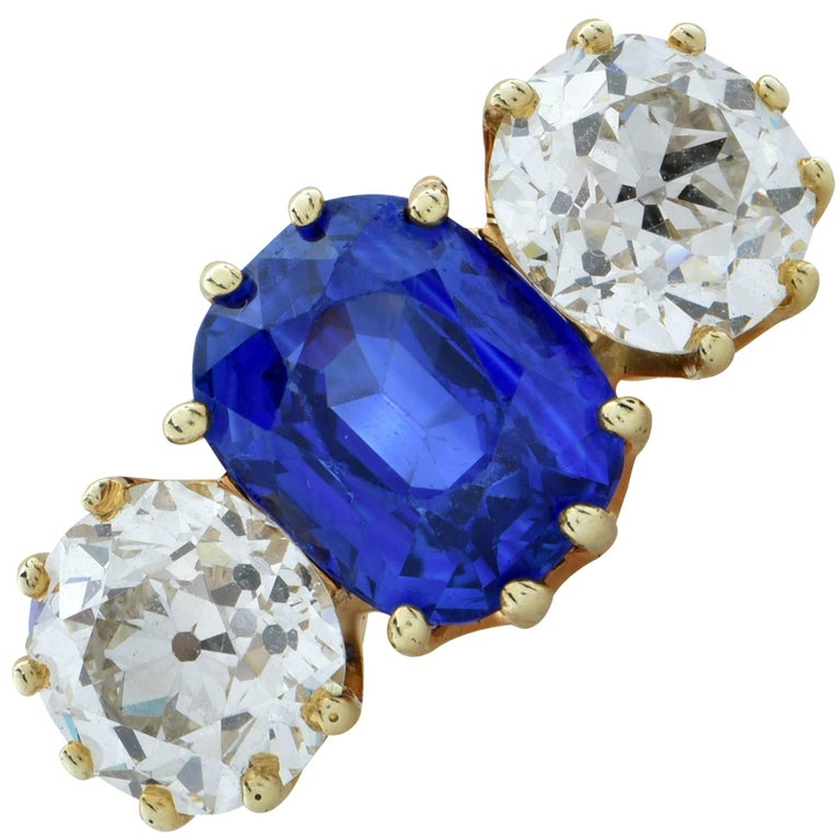 Sapphire Old European Diamond Ring, circa 1890s For Sale