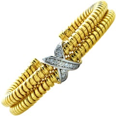 18 Karat Yellow and White Gold Diamond X Cuff Bracelet