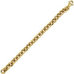 18 Karat Yellow Gold Textured Link Bracelet