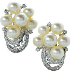 Retro Pearl Diamond Earrings