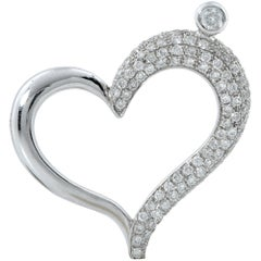 1 Carat Diamond Heart Pendant and Necklace