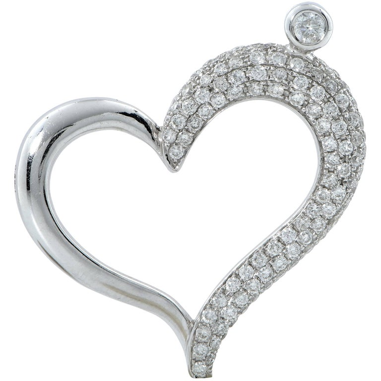 1 carat diamond heart pendant and necklace for sale at 1stdibs 1 carat diamond heart pendant and necklace for sale mozeypictures Choice Image