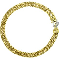 David Yurman 18 Karat Gold and Diamond Multi-Strand Link Necklace