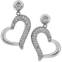 18 Karat White Gold Diamond Heart Dangle Stud Earrings