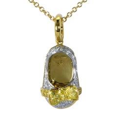Aaron Basha 1 Carat Diamond Baby Shoe Pendant with Necklace
