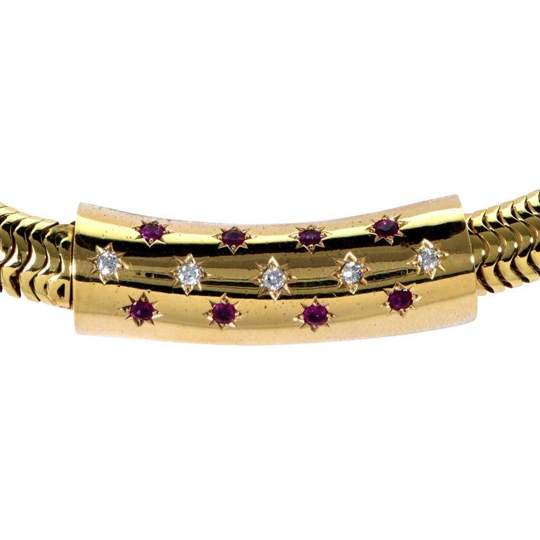 Retro Ruby Diamond Gold Necklace