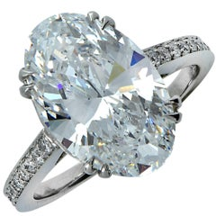 GIA Graded 6.15 Carat Oval Cut Diamond Engagement Ring