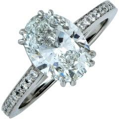 Vivid Diamonds GIA Graded 2.00 Carat F/SI1 Oval Cut Diamond Engagement Ring