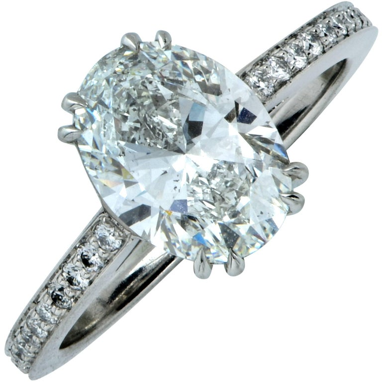 GIA Graded 2.00 Carat F/SI1 Oval Cut Diamond Engagement Ring