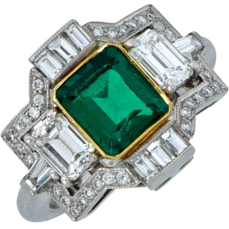 3.05 Carat Emerald and Diamond Ring For Sale