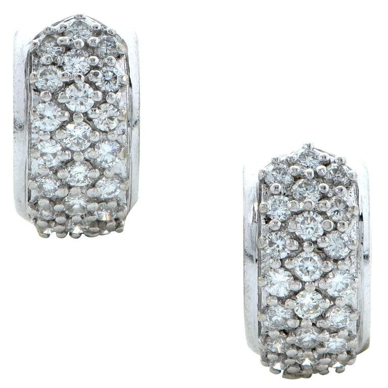 1 Carat Diamond and Gold Hoop Earrings