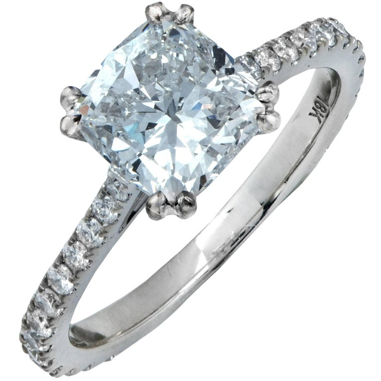 Vivid Diamonds GIA Certified 2.54 Carat Cushion Cut Diamond Engagement Ring