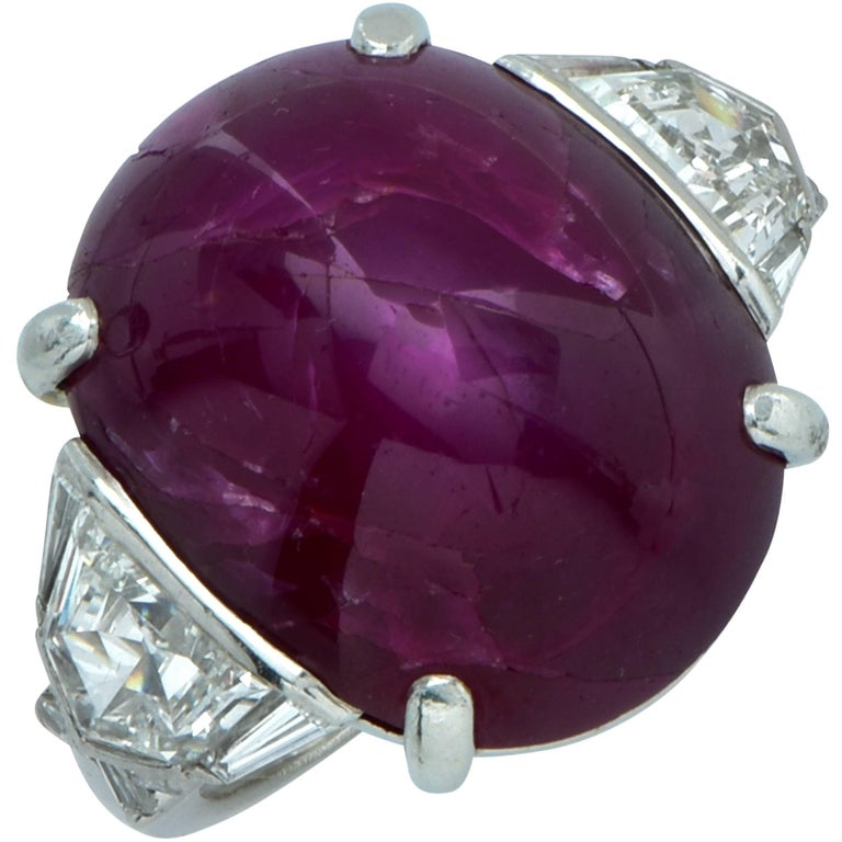 Art Deco 26 Carat Star Ruby Diamond Platinum Ring