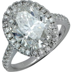 5.02 Carat Oval Cut Diamond Halo Engagement Ring