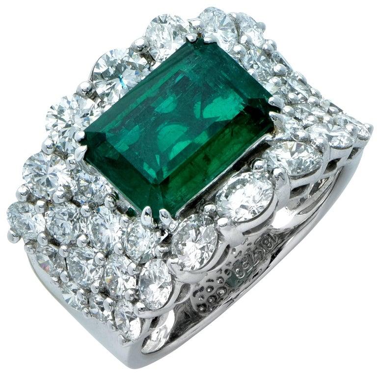 8 Carat Emerald and Diamond Ring