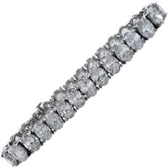 29.14 Carat Oval Cut Diamond Tennis Bracelet