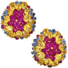 18 Karat Yellow Gold Sapphire Ruby and Diamond Earrings