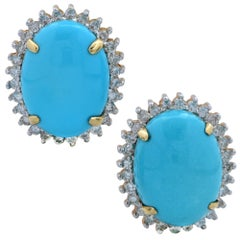 14 Karat Yellow Gold and Diamond Turquoise Earrings