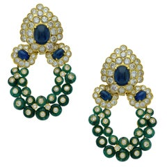 Giovane Emerald, Sapphire and Diamond Gold Day Night Ear Clips Earrings