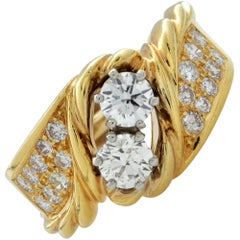 18k Yellow Gold Diamond Bypass Engagement Ring