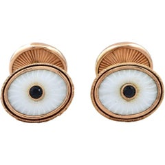 14k Yellow Gold Onyx and Enamel Cuff Links
