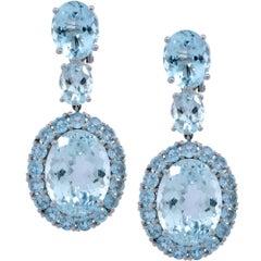 18k White Gold 30ct Aquamarine Dangle Earrings