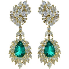 AGL Graded Colombian Emerald and Diamond Earrings