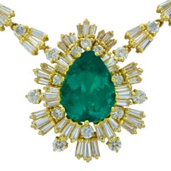 AGL Graded Colombian Emerald and Diamond Necklace