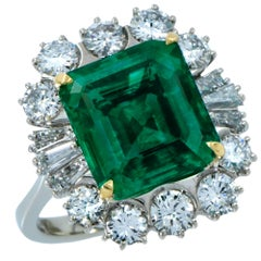 GIA Certified 6.59 Carat Colombian Emerald and Diamond Ring