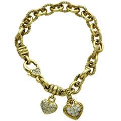 Judith Ripka Diamond 18 Karat Yellow Gold Charm Bracelet