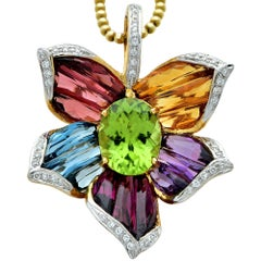 Bellari Flower Motif 18 Karat Yellow Gold Diamond and Gemstone Pendant Necklace