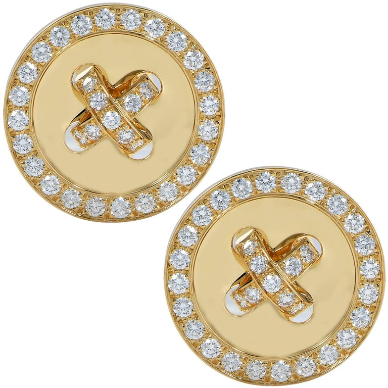Van Cleef & Arpels 18 Karat Yellow Gold Diamond Boutonniere Earrings