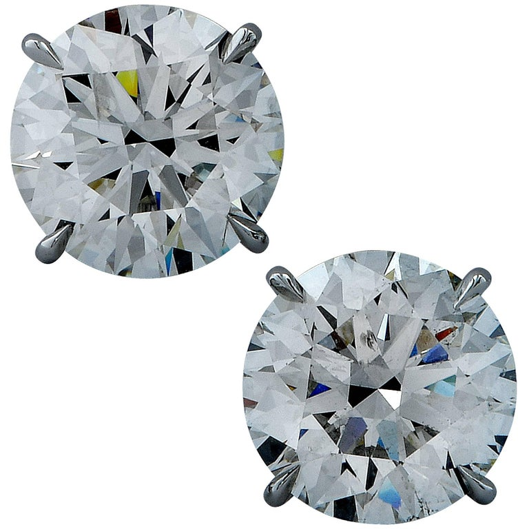GIA Graded 6.96 Carat Diamond Solitaire Earrings
