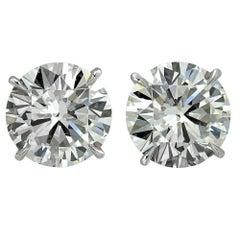 4.09 Carat Diamond Solitaire Stud Earrings