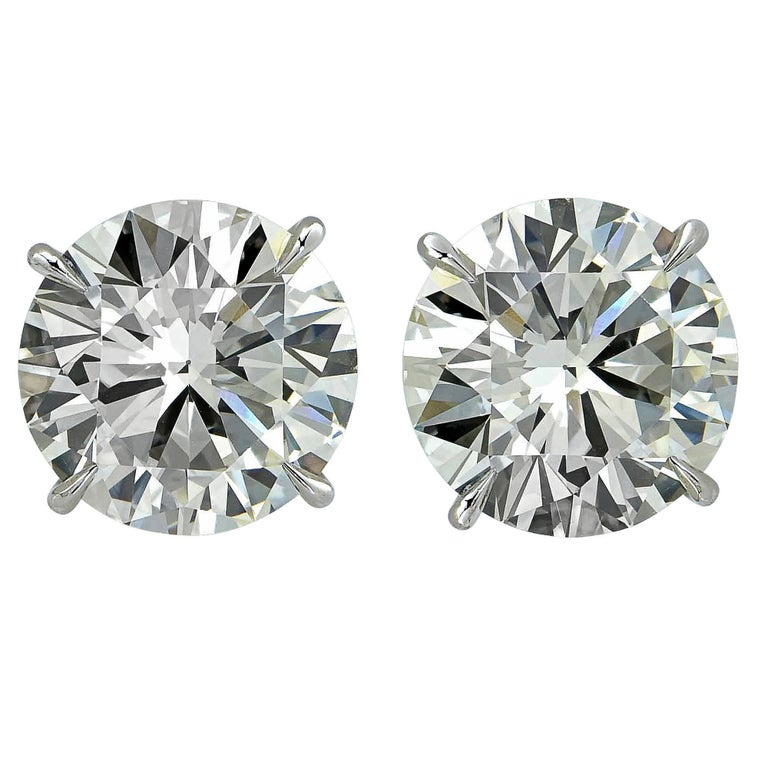 4.09 Carat Diamond Solitaire Stud Earrings