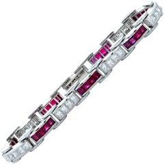8.20 Carat Diamond and Ruby Platinum Line Bracelet
