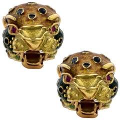 Carlos Ramon Leopard Enamel and Ruby Earrings
