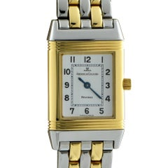 Jaeger Le Coultre Yellow Gold Stainless Steel Reverso Manual Wristwatch