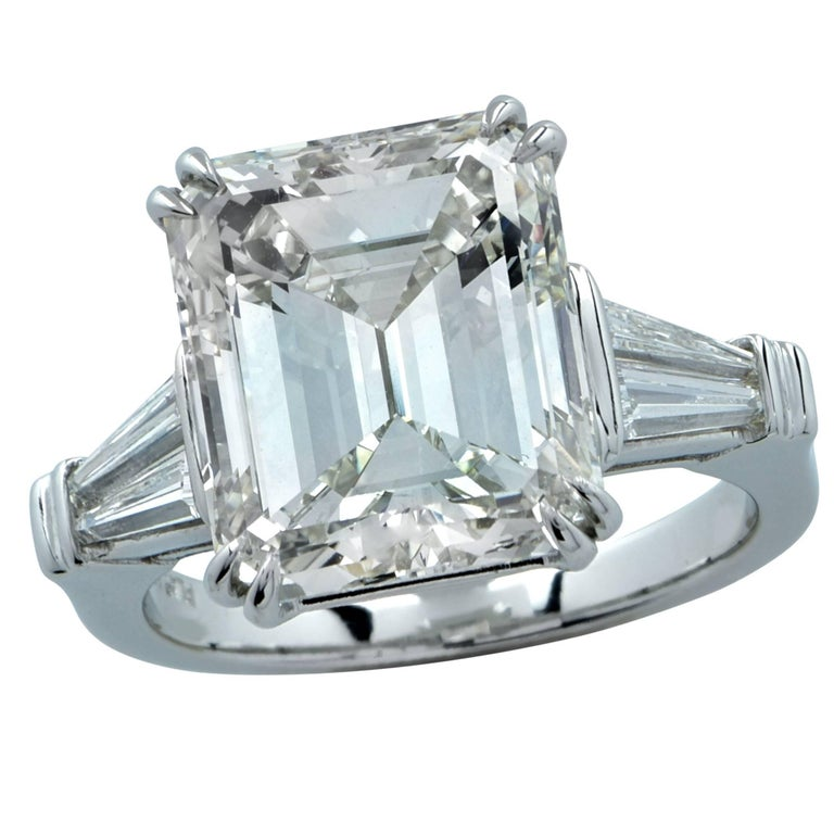 GIA Graded 9.07 Carat Emerald Cut Diamond Engagement Ring