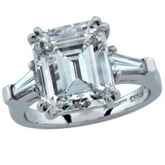 GIA Graded 5.14 Carat Emerald Cut Diamond Engagement Ring
