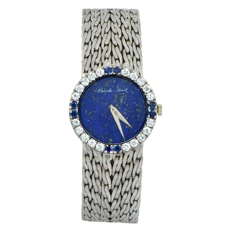 Bueche Girod White Gold Diamond Sapphire Wristwatch