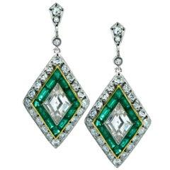 Modern Art Deco Style 2.10 Carat Diamond and Emerald Dangle Earrings